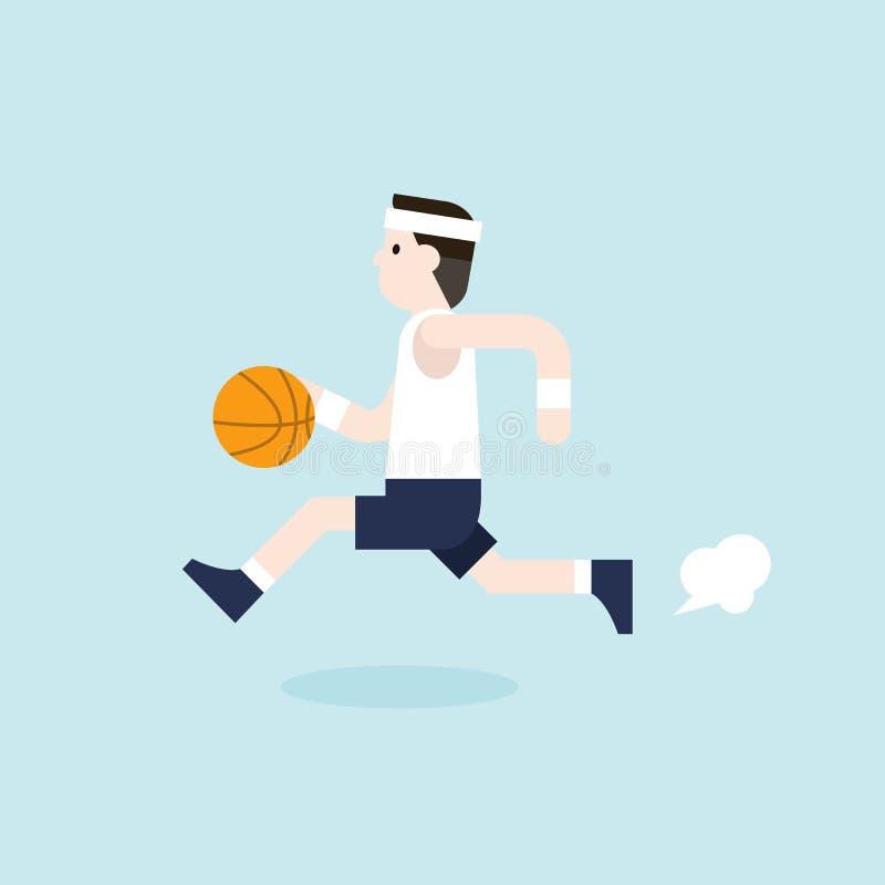 L'uomo sta giocando la pallacanestro illustrazione vettoriale