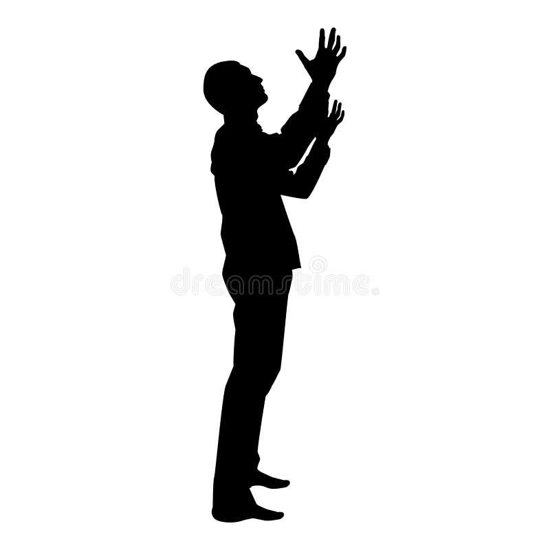 L'uomo sta girandosi verso l'uomo di cielo su appello del braccio verso il dio prega l'illustrazione di colore del nero dell'icon illustrazione vettoriale