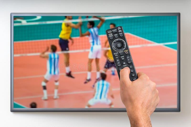 L'uomo sta guardando la partita di pallavolo sulla TV fotografia stock
