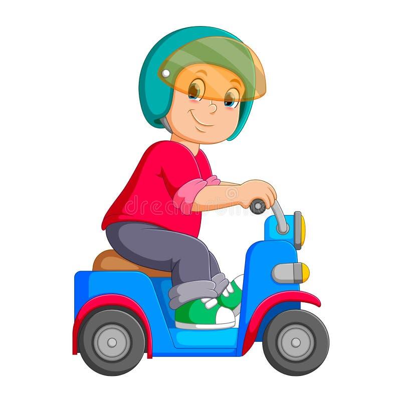 L'uomo sta guidando sul motorino blu con il casco royalty illustrazione gratis