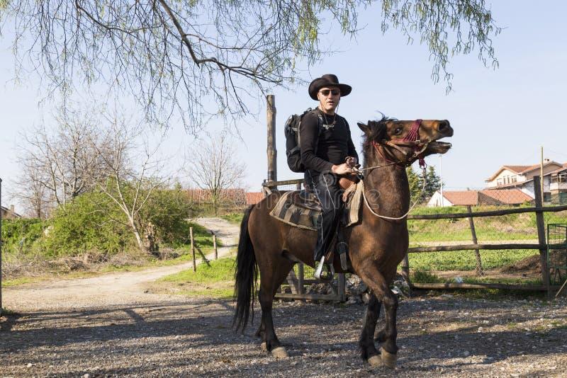 L'uomo sta montando un cavallo fotografia stock
