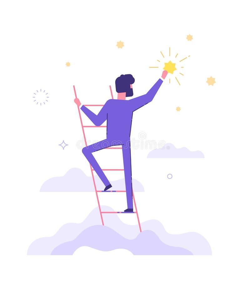 L'uomo sta stando sulle scale e sta raggiungendo la stella illustrazione vettoriale