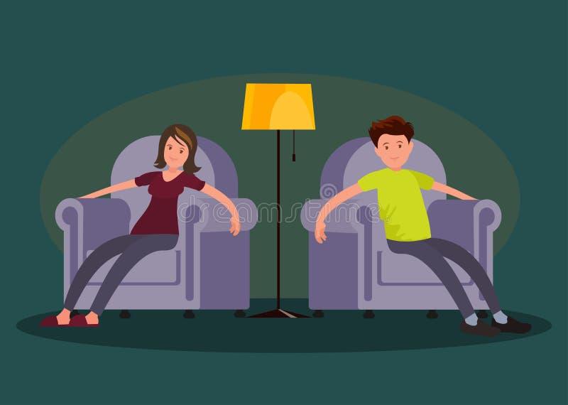 L'uomo stanco e la donna sono venuto a casa da lavoro e si siedono in una sedia molle royalty illustrazione gratis
