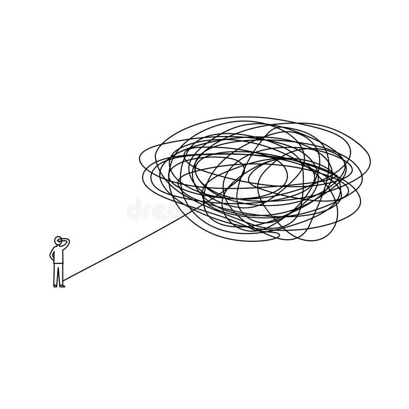 L'uomo stante con il problema complicato deve essere avanti illustrazione risolta l'uomo d'affari con il processo difficile di mo illustrazione di stock