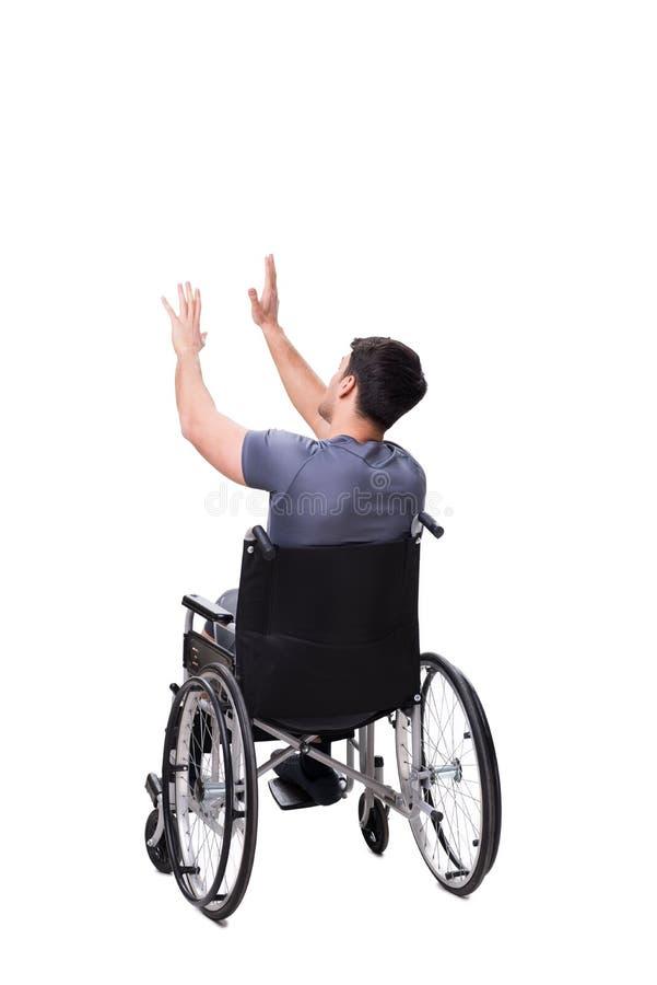 Download L'uomo Sulla Sedia A Rotelle Isolata Su Fondo Bianco Fotografia Stock - Immagine di malattia, occupazione: 117976216