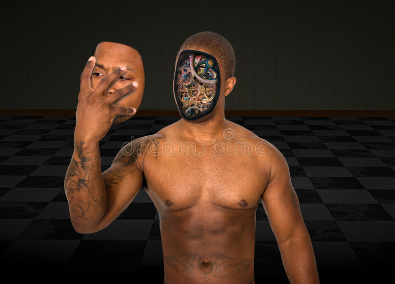 L'uomo surreale del robot rimuove il fronte immagini stock libere da diritti
