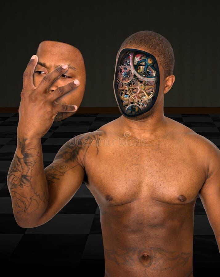 L'uomo surreale del robot rimuove il fronte fotografia stock libera da diritti