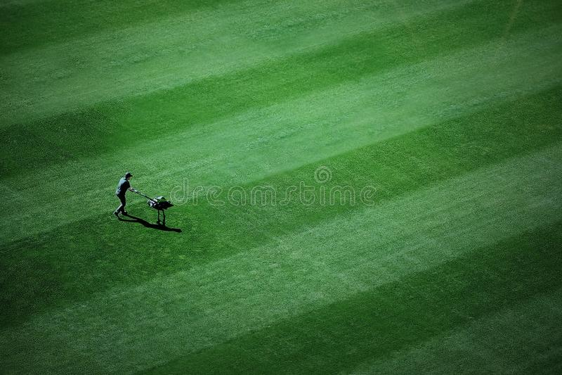 L'uomo taglia l'erba nel giardino immagini stock libere da diritti