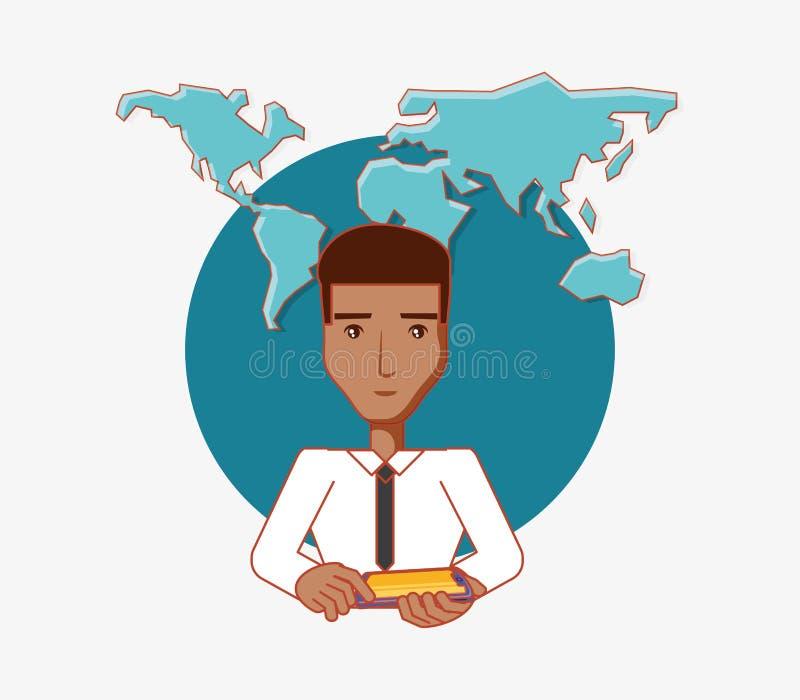 L'uomo tiene i media del sociale del mondo dei computer della compressa royalty illustrazione gratis