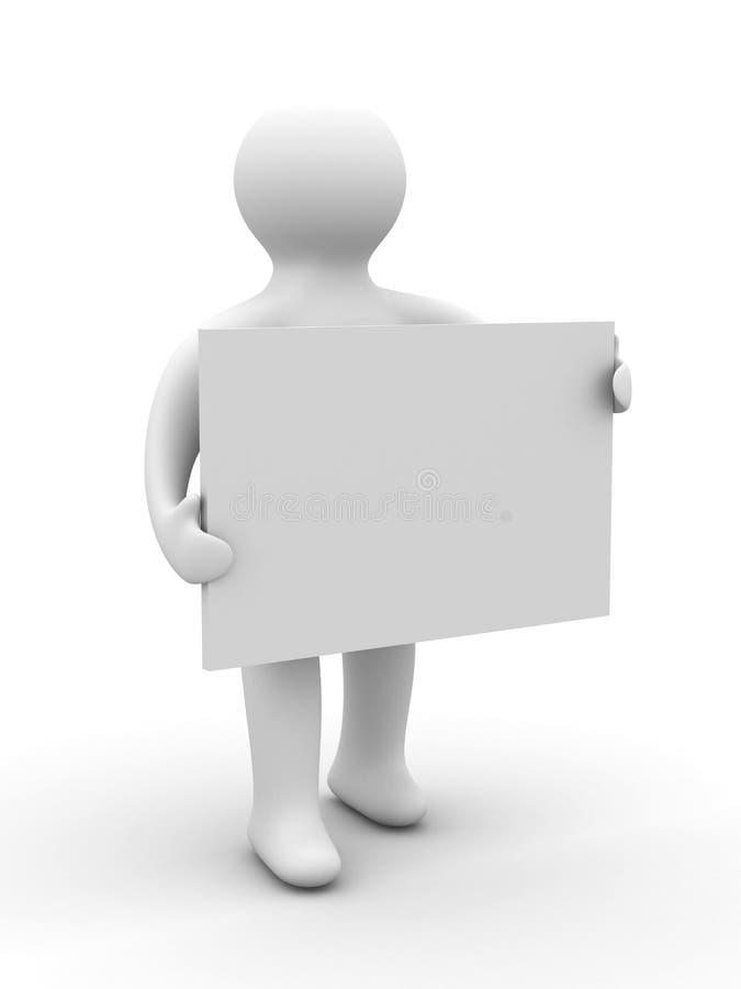 L'uomo tiene il manifesto in una mano. illustrazione vettoriale