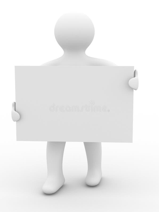 L'uomo tiene il manifesto in una mano. illustrazione di stock