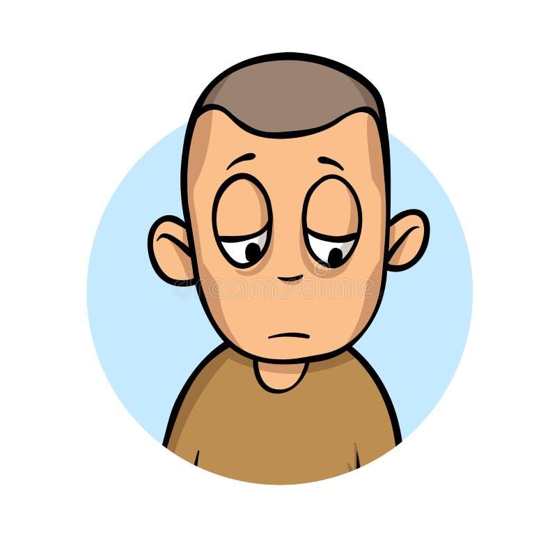L'uomo triste di giovane sofferenza è malato Fame, malattia, perdita di peso Illustrazione piana di vettore Isolato su priorità b royalty illustrazione gratis