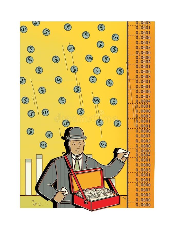 L'uomo triste in un vestito vende le parti Pioggia dei soldi dal cielo peddler commercio Il venditore ambulante delle merci Borsa royalty illustrazione gratis