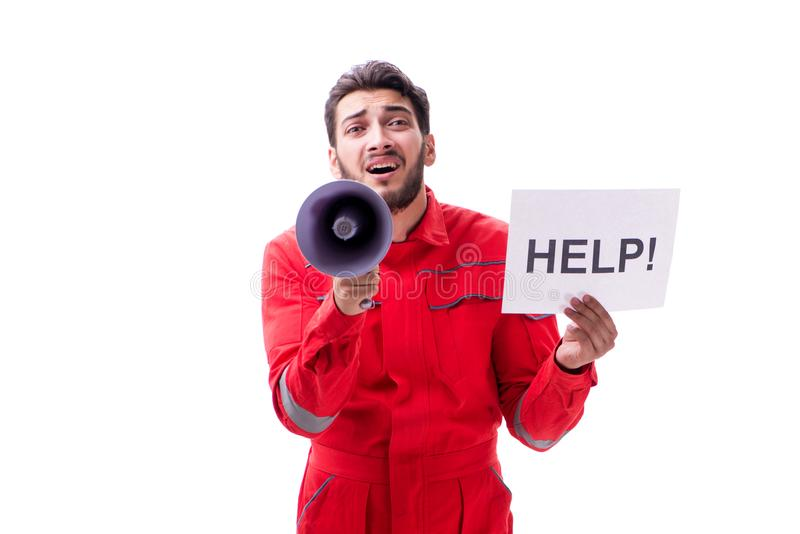 Download L'uomo In Tute Con Il Messaggio Isolato Su Bianco Immagine Stock - Immagine di minatore, background: 117975431