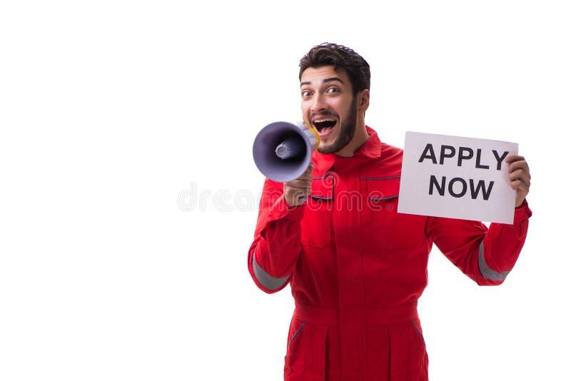 Download L'uomo In Tute Con Il Messaggio Isolato Su Bianco Fotografia Stock - Immagine di costruttore, industria: 117975466