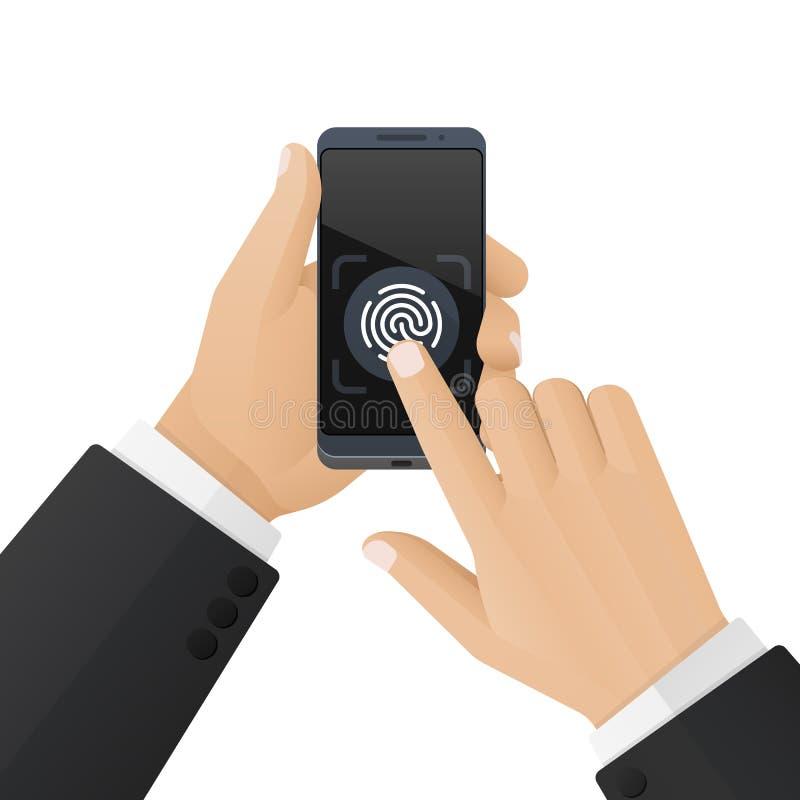 L'uomo in un vestito sblocca uno smartphone con un analizzatore dell'impronta digitale Concetto di sicurezza e di identificazione illustrazione di stock