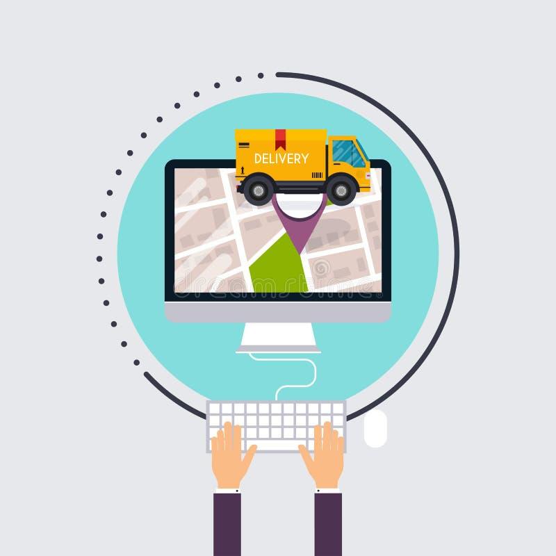 L'uomo utilizza il computer con l'inseguimento della consegna di app Piano moderno di vettore royalty illustrazione gratis