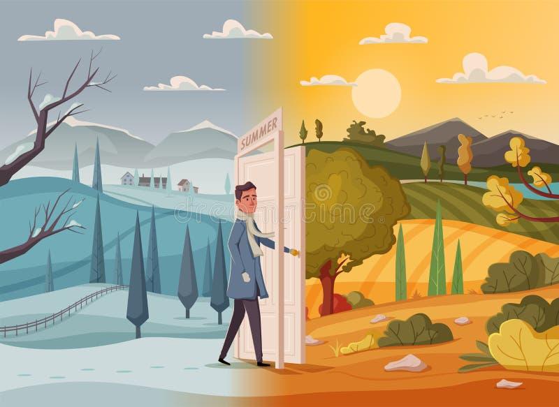 L'uomo va in tutto la porta aperta Paesaggio della valle Illustrazione di vettore del fumetto Manifesto dell'annata Benvenuto ad  illustrazione di stock