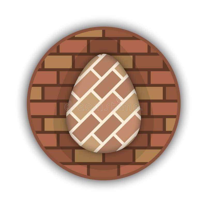 L'uovo che ha riempito i mattoni in un curcle Illustrazione di vettore marchio illustrazione di stock