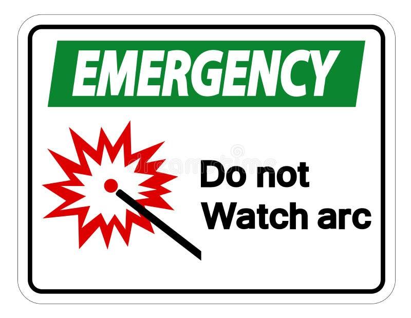L'urgence font pas l'isolat de signe de symbole d'arc de montre sur le fond blanc, illustration de vecteur illustration libre de droits