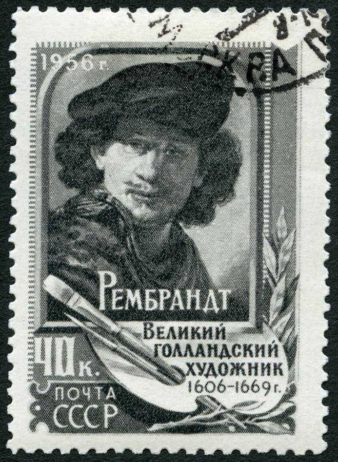 L'URSS - CIRCA 1956: mostra a Rembrandt 1606-1669, pittore immagine stock