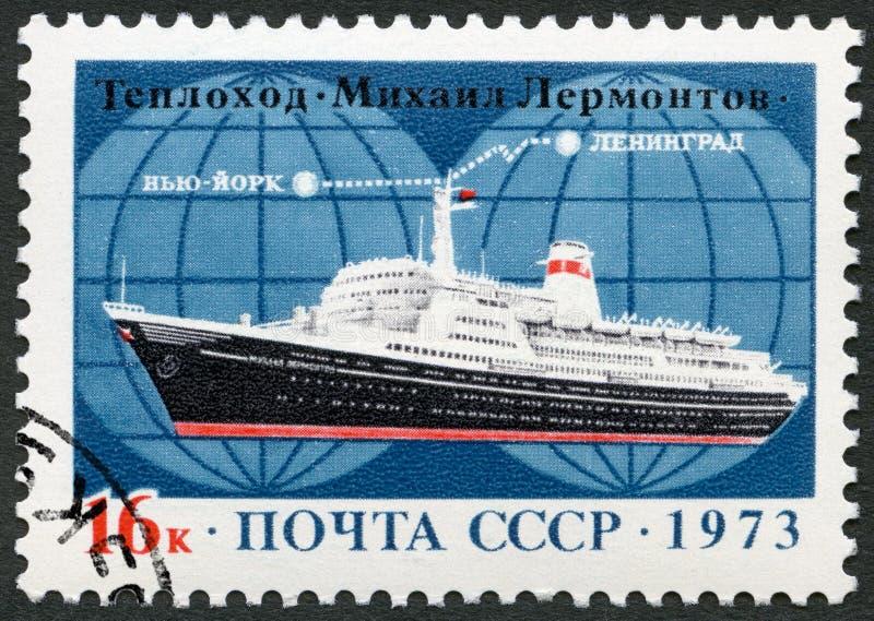L'URSS - 1973 : revêtement d'océan de milliseconde Mikhail Lermontov d'expositions, itinéraire Léningrad vers New York photo stock