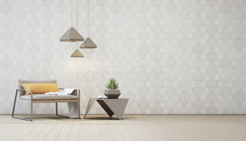 L'usine d'intérieur sur la table basse en acier et le fauteuil avec la triangle blanche vide modèlent le fond de mur illustration de vecteur