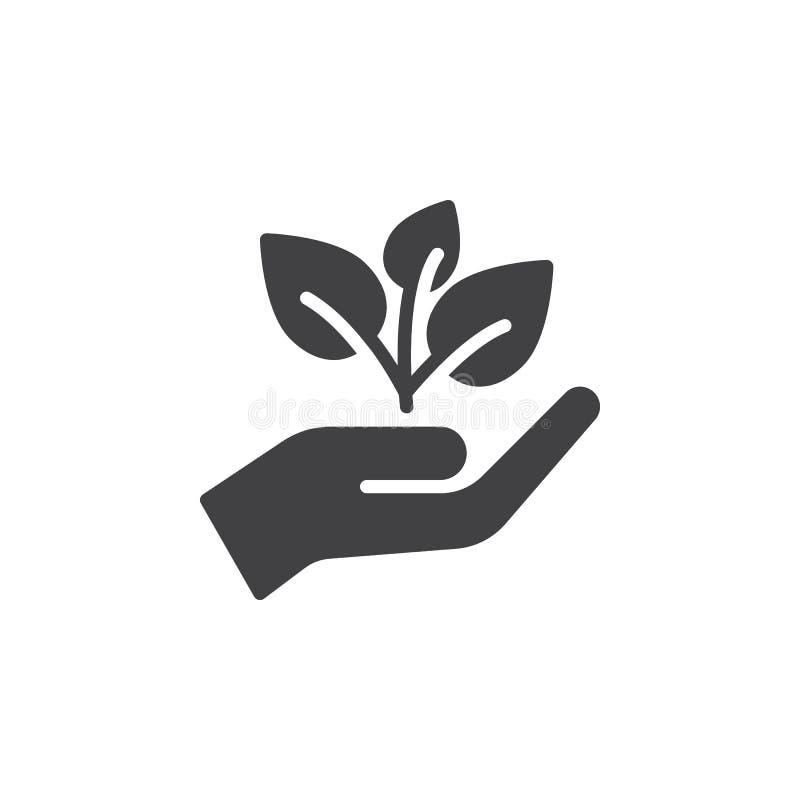 L'usine, pousse dans un vecteur d'icône de main, a rempli signe plat, pictogramme solide d'isolement sur le blanc illustration libre de droits