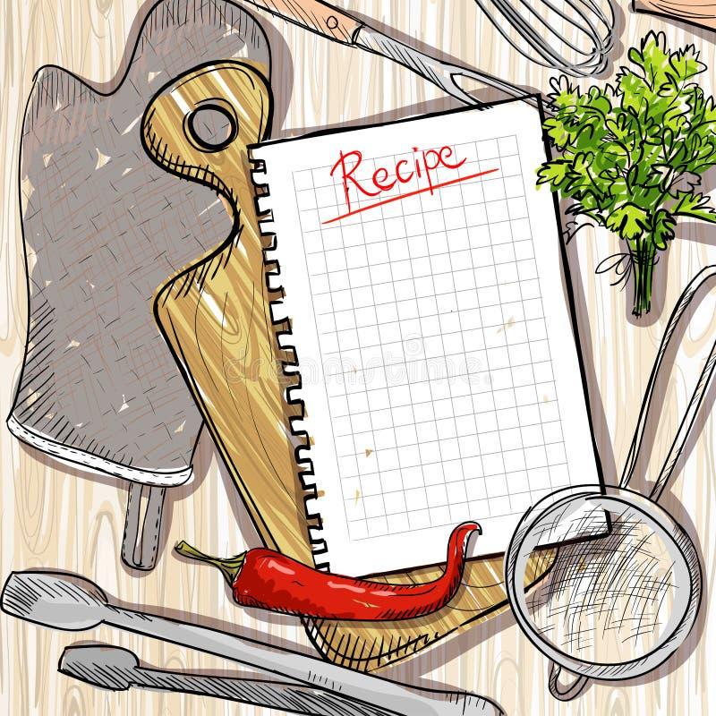 L'utensile della cucina e del tagliere con la ricetta vuota elenca su una tavola di legno illustrazione di stock
