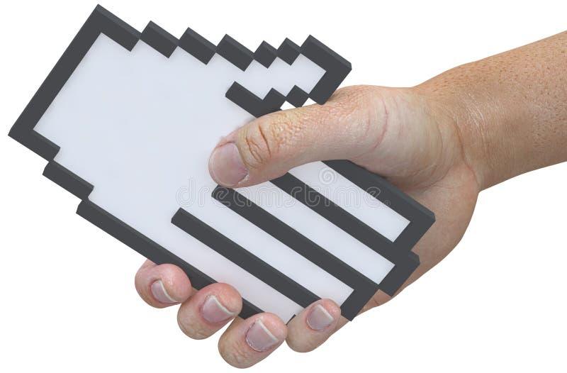 L'utente di tecnologia del cursore del pixel della stretta di mano agita le mani illustrazione vettoriale