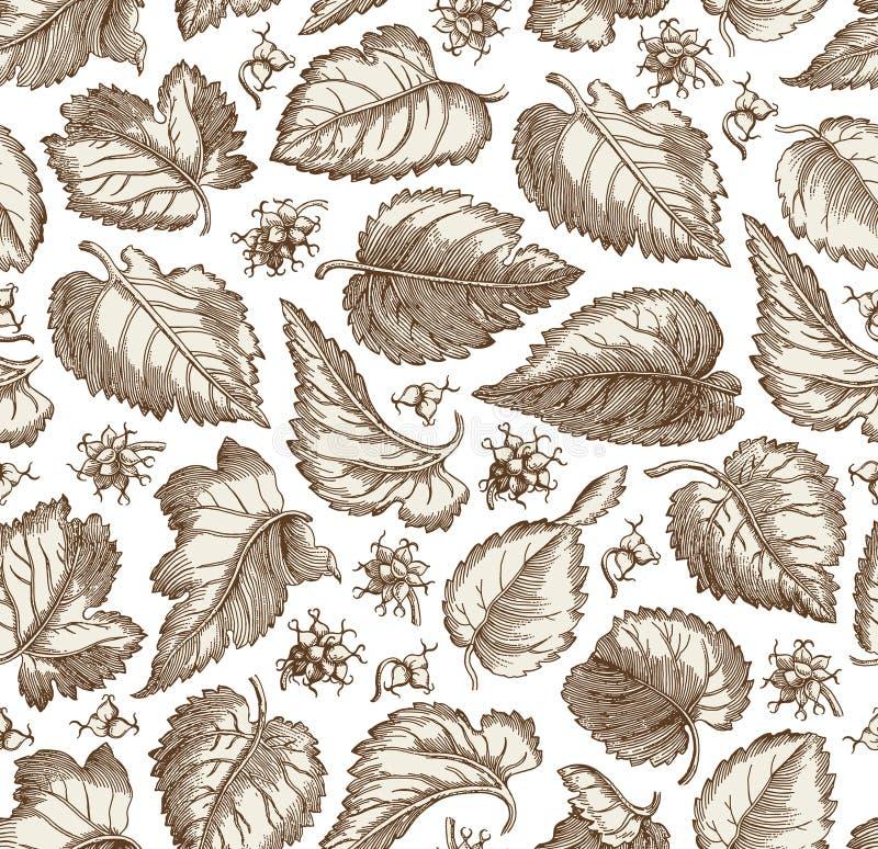 L'uva d'annata floreale isolata realistica del fondo del tessuto del modello senza cuciture lascia la carta da parati che disegna immagine stock libera da diritti