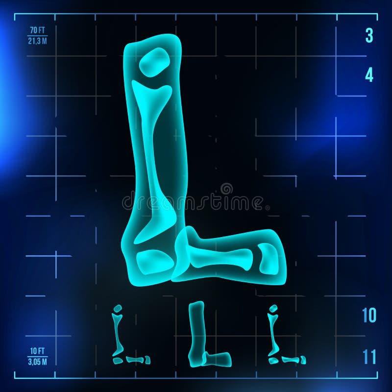 L vecteur de lettre Chiffre capital Signe roentgen de lumière de police de rayon X Effet au néon de balayage de radiologie médica illustration libre de droits