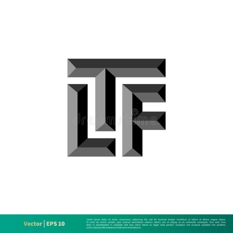L vetor Logo Template Illustration Design do ícone do tijolo da letra de T F Vetor EPS 10 ilustração do vetor
