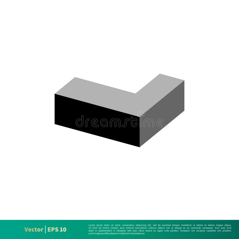 L vetor Logo Template Illustration Design do ícone do tijolo da letra Vetor EPS 10 ilustração stock