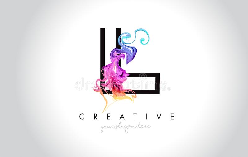 L Vibrant Creative Leter Logo Design with Colorful Smoke Ink Flo. Wing Vector Illustration royalty free illustration