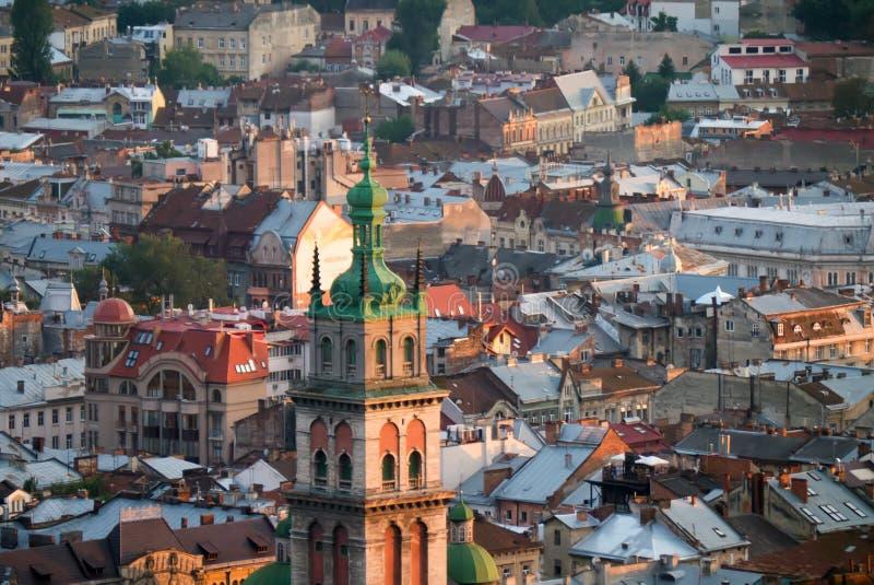 L ` viv, Ucraina - 21 agosto 2017: Vista sopra la città della L ` viv, fotografia stock libera da diritti