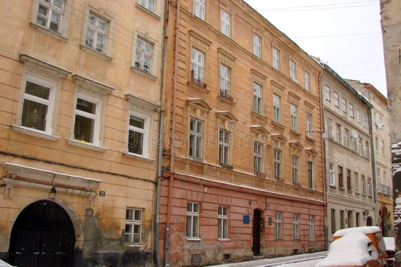 L ` viv ukraine Panorama von alten Gebäuden des historischen Stadtteiles stockfotos