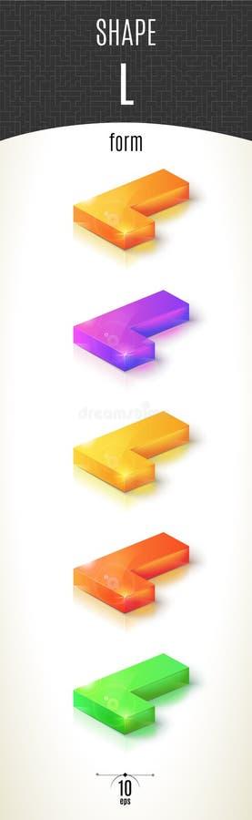 L-vorm glanzend 3D-deel op witte die achtergrond in verschillende kleuren wordt geplaatst stock afbeeldingen