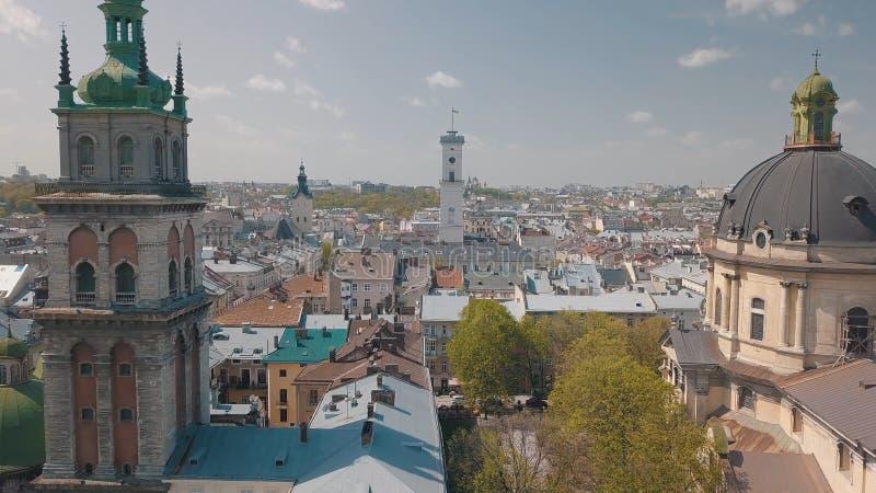 L'vov, Ucraina Citt? aerea Leopoli, Ucraina Panorama di vecchia citt? domenicano fotografia stock libera da diritti