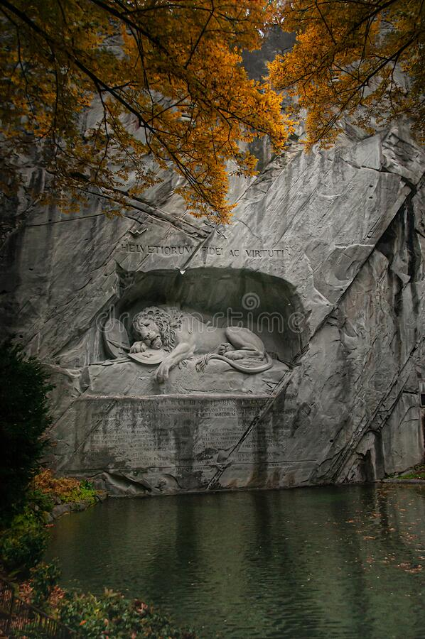 Free Löwendenkmal, Lucerne, Switzerland. The Lion Monument, An Impressive Memorial In Homage To The Swiss Guard, Who Protected The Royalty Free Stock Images - 169445219