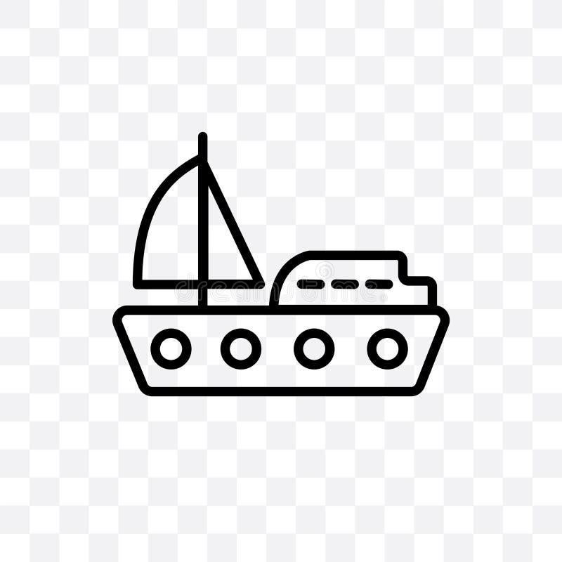 L'yacht che affronta l'icona lineare di giusto vettore isolata su fondo trasparente, yacht che affronta il giusto concetto della  royalty illustrazione gratis