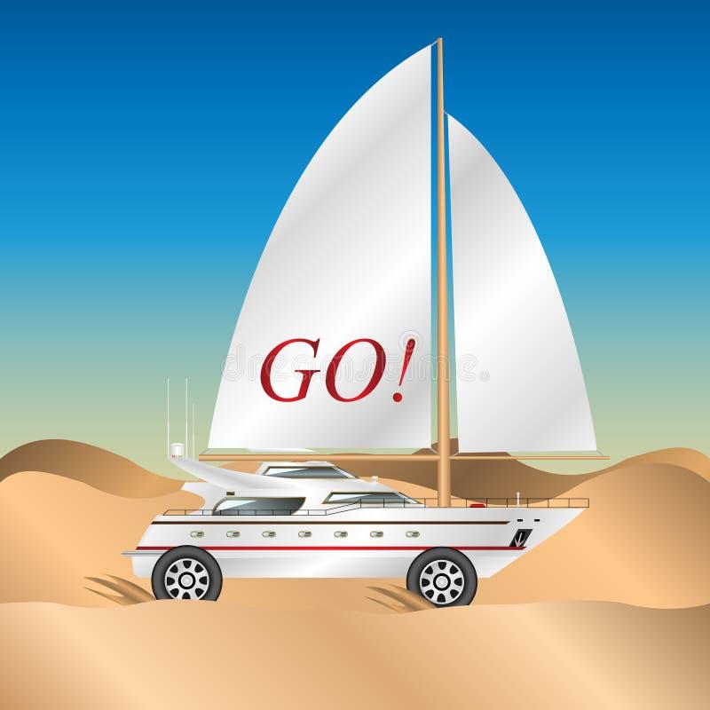 L'yacht della navigazione sopra spinge dentro il deserto royalty illustrazione gratis