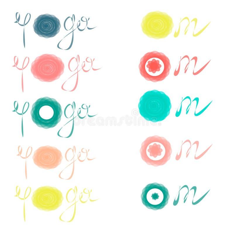 L'yoga accetta, elasticit? - ispiri e citazione motivazionale Bella iscrizione disegnata a mano Segno elegante di calligrafia illustrazione di stock