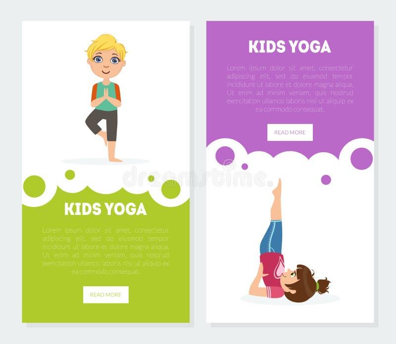 L'yoga per le insegne dei bambini, modelli d'atterraggio messi, bambini delle pagine che praticano Asana posa l'illustrazione di  illustrazione vettoriale