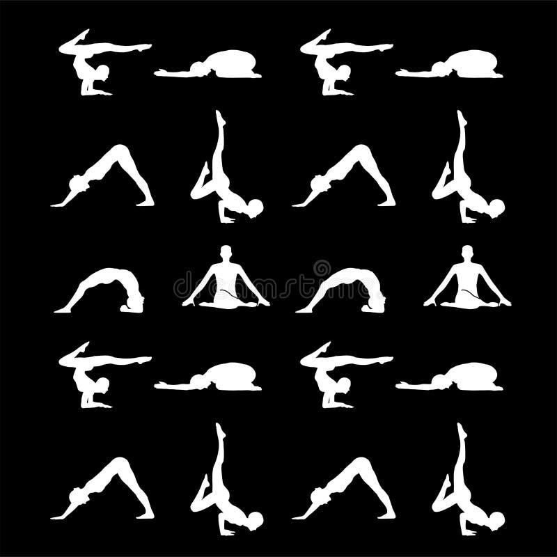 L'yoga posa la siluetta illustrazione di stock