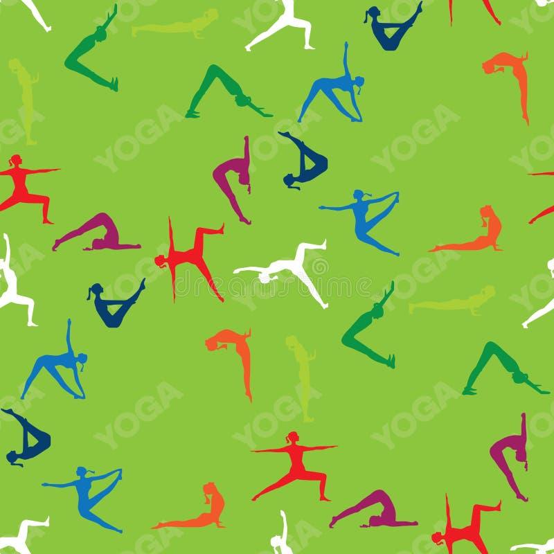 L'yoga senza cuciture del modello posa le icone illustrazione di stock