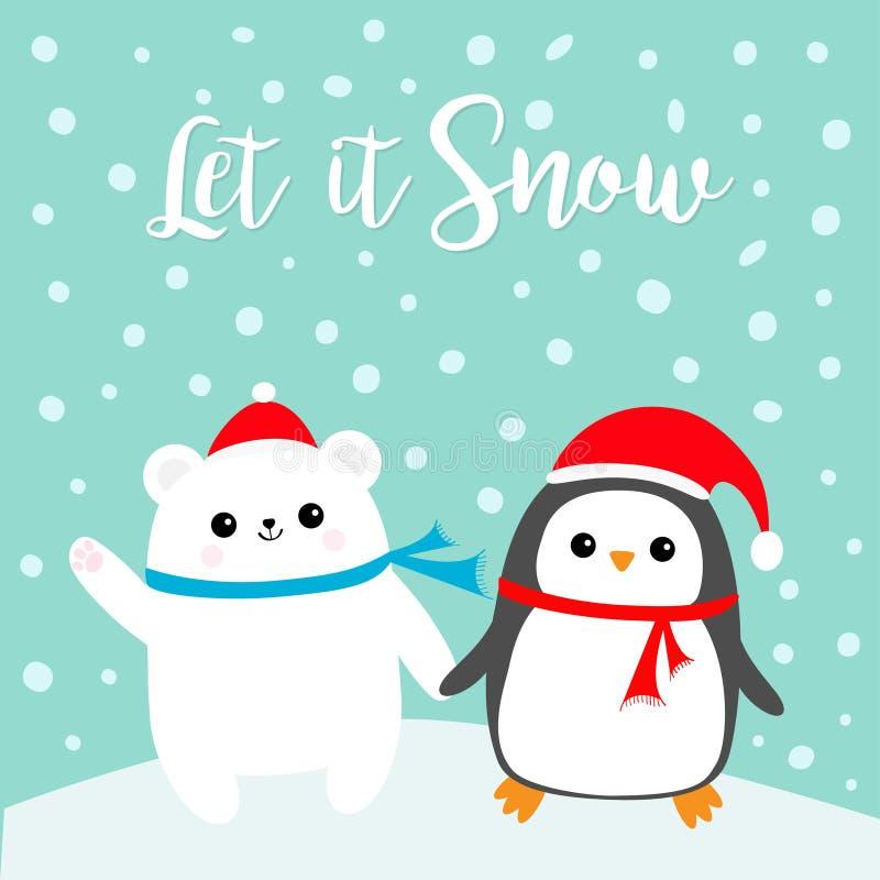 Laßt ihm schneien Polares weißes Bärenjunges des Kawaii-Pinguinvogels Roter Santa Claus-Hut, Schal Netter Karikaturbabycharakter  stock abbildung