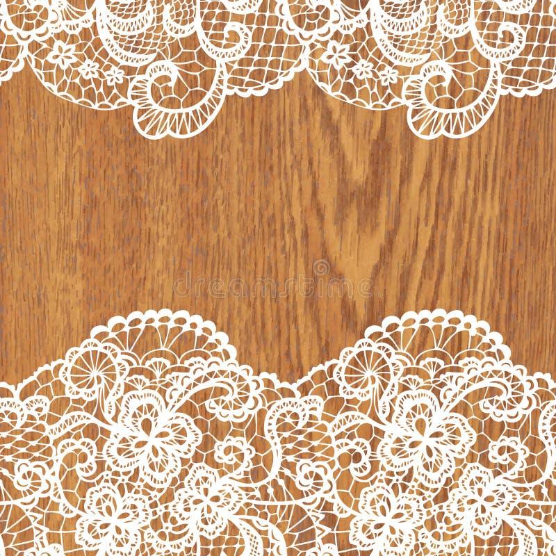 Laço branco na textura da árvore ilustração stock