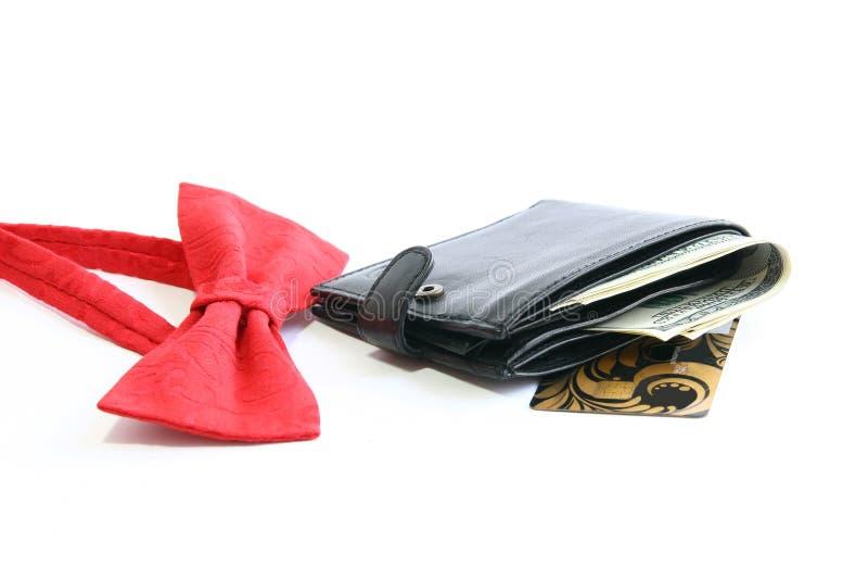 Laço, cartão e bolsa vermelhos imagens de stock