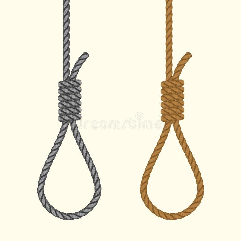 Laço de suspensão da corda Soga com nó dos hangmans Pena de morte do suicídio ilustração do vetor
